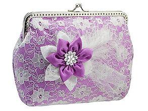 Kabelky - Čipková kabelka fialovo biela  001A - 5502023_