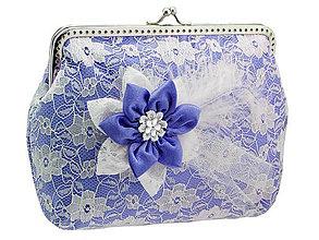 Kabelky - Čipková kabelka modro biela  003A - 5502032_