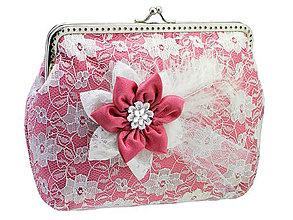 Taštičky - Čipková kabelka růžovo biela  004A - 5502035_