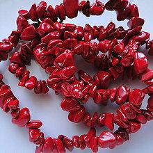 Minerály - Kamenné zlomky-červená-návlek 90cm - 5501127_