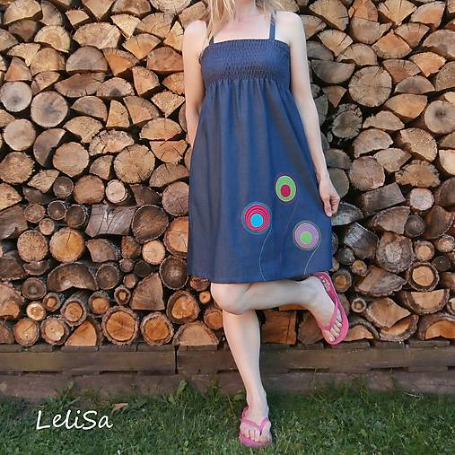 7349b7115 riflové šaty na ramínka...od Lelisy / LeliSa - SAShE.sk - Handmade Šaty
