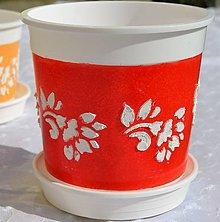 Nádoby - Kvetináč červený 15x14,5cm - 5503821_