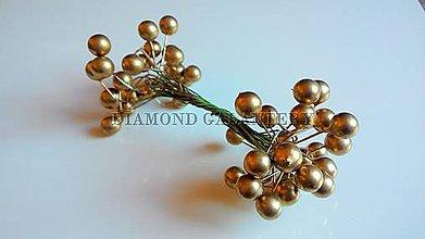 Galantéria - Perličková ozdoba zlatá - 5504196_