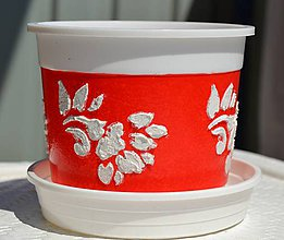 Nádoby - Kvetináč červený 13x10,5cm - 5506102_