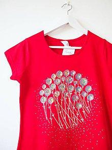 Tričká - tričko červené s pestrofarebnou maľbou - M - 5507043_