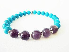 Šperky - Pánsky energický náramok s tyrkenitom a ametystom - 5507331_
