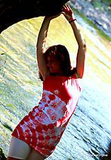 Tielka - Dámske tričko bez rukávov, šité, batikované a maľované LETNIČKY - 5505798_