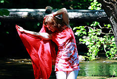 Tielka - Dámske tričko bez rukávov, šité, batikované a maľované LETNIČKY - 5505800_