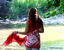 Tielka - Dámske tričko bez rukávov, šité, batikované a maľované LETNIČKY - 5505820_