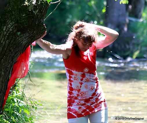 Dámske tričko bez rukávov, šité, batikované a maľované LETNIČKY