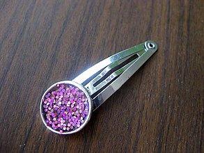 Ozdoby do vlasov - Trblietavá ružová sponka č.198 - akcia - 5509152_