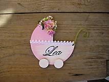 Tabuľky - drevený kočík s menom... - 5509667_