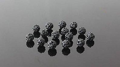 Korálky - Shamballa korálky 6 mm čierne - 5515943_