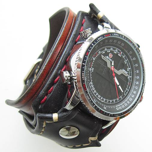 Gotické hodinky hnedo čierne   leon - SAShE.sk - Handmade Náramky 30f6811c4c