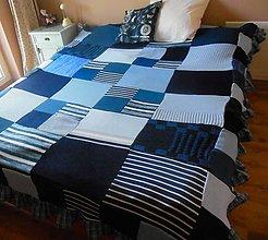 Úžitkový textil - Modrá vidiecka prikrývka na posteľ - 5514559_
