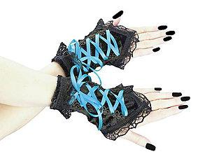 Rukavice - Bezprsté zamatové rukavičky s korzetovým šnurovaním 003 - 5517798_