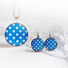 Sady šperkov - bílé puntíky s modrou - sada i jednotlivě - 5519456_