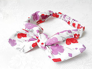Ozdoby do vlasov - Pin Up headband on elastic (white with red&violet flowers) - 5521512_