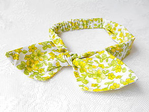 Ozdoby do vlasov - Pin Up headband on elastic (white with yellow&green flowers) - 5521523_