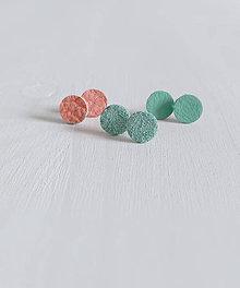 Náušnice - 3 x kožené bodky... / napichovačky - 5521668_