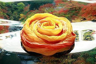 Šatky - Hodvábna šatka žltá, oranžová - Orange - 5521140_