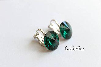 Náušnice - Klipsne Swarovski Rivoli Emerald Rh - 5521206_