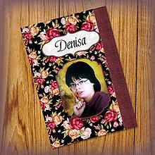 Papiernictvo - Romantický kvetový zápisníček s vlastnou fotkou a s menom 4 - 5521932_
