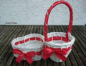 Dekorácie - Svadobné košíčky - menšie sady (červená) - 5525486_