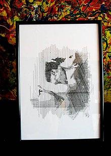 Kresby - Línie - Milenci (print) v ráme - 5526342_