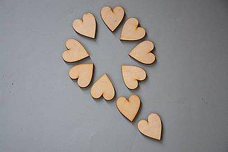 Polotovary - Drevené výrezy, srdce 10 ks/bal - 1843 - 5528328_