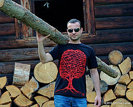 Tričká - Pánske tričko maľované OHNIVÝ STROMÍK - 5528645_