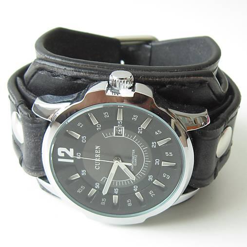 Pánske kožené hodinky čierne   leon - SAShE.sk - Handmade Náramky 8a6ca13efc