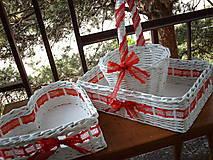 Košíky - Svadobná sada v červených čipkách - 5528877_