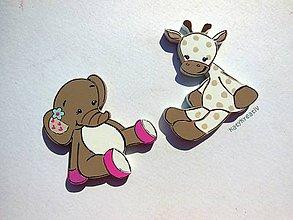 Magnetky - sada sloník a žirafka - 5539180_