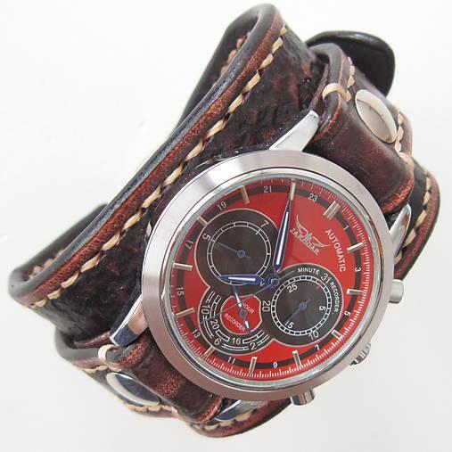 e508f6972 Pánske kožené hodinky hnedé, červený ciferník / leon - SAShE.sk ...