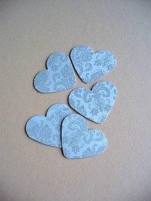 Papier - výsek srdce s ornamentom/ 5ks - 5540933_