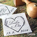 Darčeky pre svadobčanov - Levanduľové srdiečko, pečiatka 4x4 cm - 5538673_
