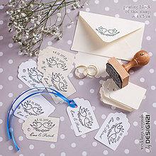 Darčeky pre svadobčanov - Letiaci vtáčky: pečiatka 4x3 cm - 5538660_