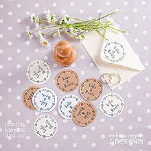 Darčeky pre svadobčanov - Veniec z kytek: pečiatka prům. 4 cm - 5538688_