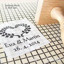 Darčeky pre svadobčanov - Lístočkové srdiečko, pečiatka 4x4 cm - 5538690_
