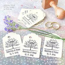 Darčeky pre svadobčanov - Vtáčky na strome: pečiatka 3x4 cm - 5538740_