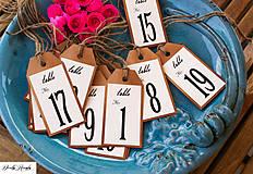 Papiernictvo - rustikální svatební čísla stolů - 1ks - 5543327_