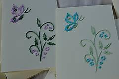 - Vyšívané pohľadnice - 5 - Motýli let - 5542650_