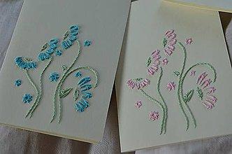 Papiernictvo - Vyšívané pohľadnice - 1 -margarétky - 5542619_