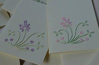 Papiernictvo - Vyšívané pohľadnice - 2 - Levanduľa - 5542629_
