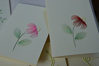 Papiernictvo - Vyšívané pohľadnice - 3 - Echinacea - 5542638_