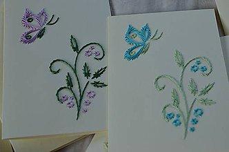 Papiernictvo - Vyšívané pohľadnice - 5 - Motýli let - 5542650_