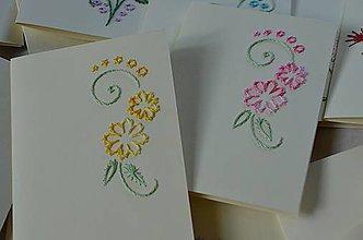 Papiernictvo - Vyšívané pohľadnice - 6 - Ruža - 5542655_