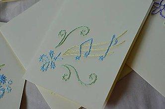 Papiernictvo - Vyšívané pohľadnice - 10 - Motýlie noty - 5542792_