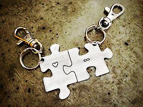 Kľúčenky - PUZZLE / hrúbka 2mm / cena za 2ks + 2x mini skoba - 5546954_